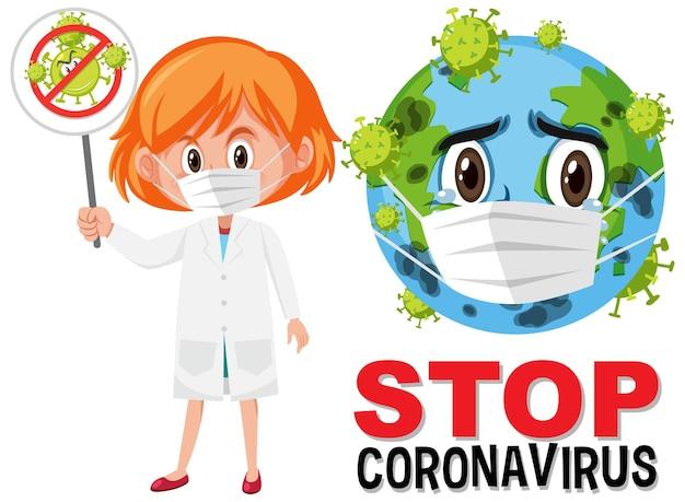 Остановить коронавирус логотип с землей в маске мультипликационный персонаж и доктор держит знак остановки коронавируса