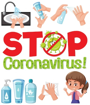 Stop coronavirus logo with hand using sanitizer products