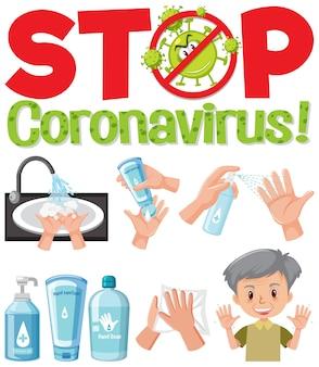 Stop coronavirus logo with hand using sanitizer products