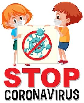 아이가 중지 코로나 바이러스 기호를 들고 코로나 바이러스 로고 중지