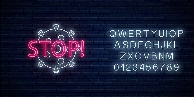 Stop coronavirus neon sign. covid-19 virus caution symbol with alphabet in neon style.