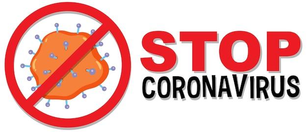 Stop coronavirus prohitbit sign or banner