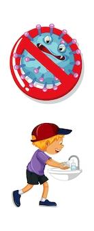 Остановить знак коронавируса с мальчиком, умывающим руки на белом фоне