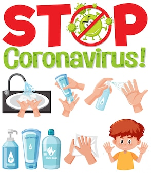 Stop coronavirus text sign with hand using sanitizer products