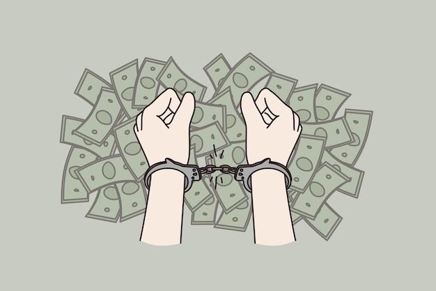 부패와 금융 범죄 개념을 중지합니다. 돈 현금 뇌물 부패 벡터 일러스트 레이 션의 더미 위에 수 갑에 인간의 손