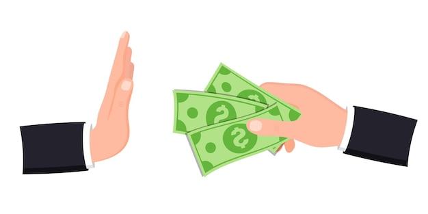 부패 방지, 뇌물 방지 개념을 중지합니다. 손은 돈을 제공하고, 다른 손은 거절의 제스처를 보여줍니다. 현금으로 뇌물을 주는 사업가 손. 제안된 돈을 거부하는 사업가. 벡터 평면 그림