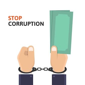 Остановить коррупцию, бизнес рука держит деньги и в наручниках дизайн иллюстрации
