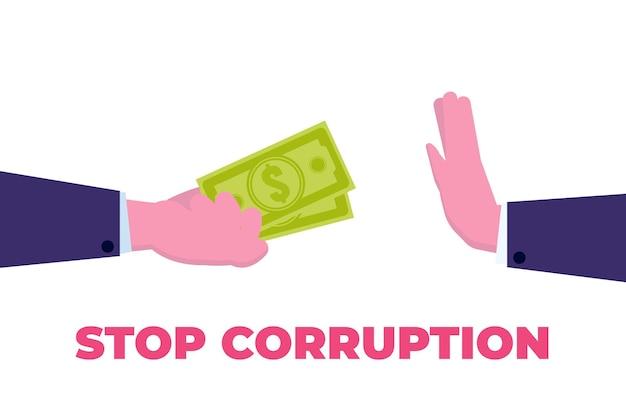 Остановите понятие коррупции. бизнесмен отказывается от взятки.