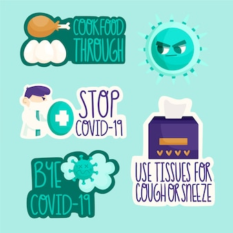 Stop covid-19 badge set