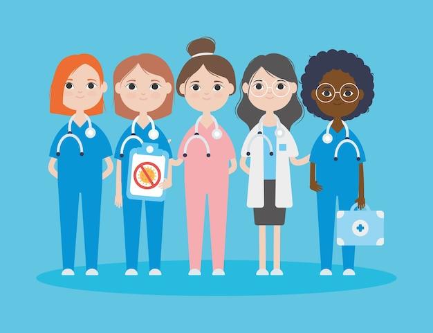 Covid 19コンセプト、青い背景の上に立っている漫画のかわいい医者の女性、カラフルなデザインを停止します