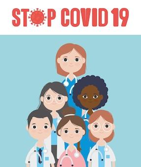 Covid 19コンセプト、青い背景に笑みを浮かべて漫画の医師、カラフルなデザインを停止します