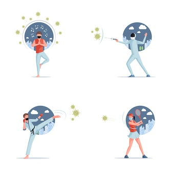 Stop covid-19   flat illustration. people fighting with coronavirus and living in self isolation.