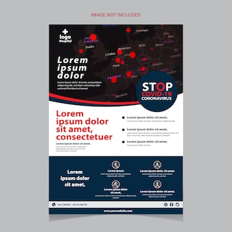 Stop covid-19 flyer template with a hospital checkup.