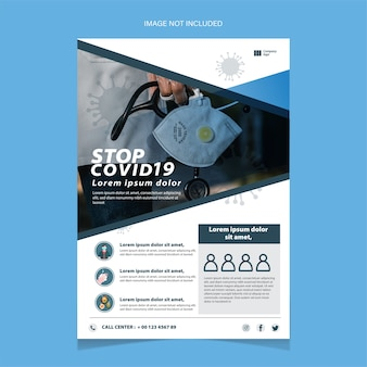 Stop covid-19 flyer template with a mouth mask.