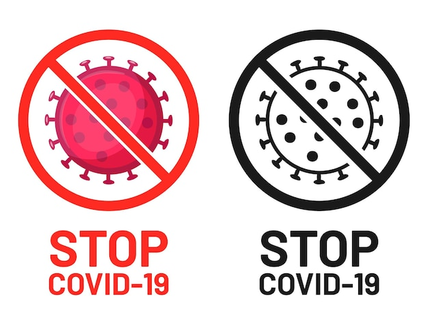 Covid-19のシンボル、注意の発生の兆候を停止します