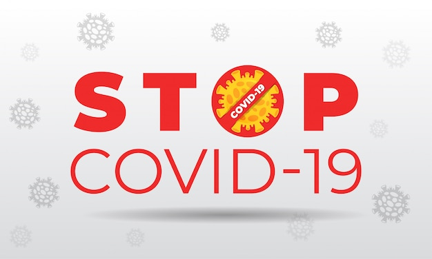 Stop covid-19 on white background