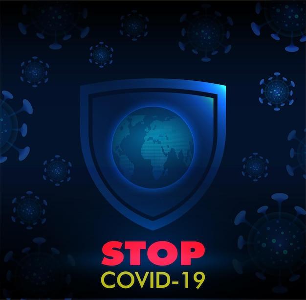 Covid19 코로나 바이러스 파란색 배경을 중지