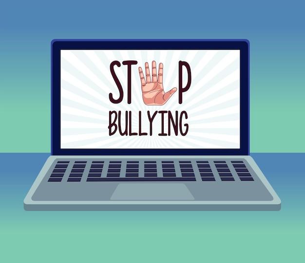 사이버 괴롭힘 글자와 노트북에서 손을 멈추는 중지 프리미엄 벡터