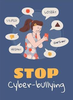 사이버 괴롭힘 중지-소셜 미디어 앱에서 괴롭힘 텍스트를 읽는 슬픈 소녀.