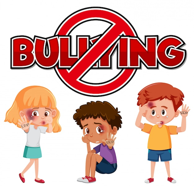 Stop domestic violence font design with kids being bullied