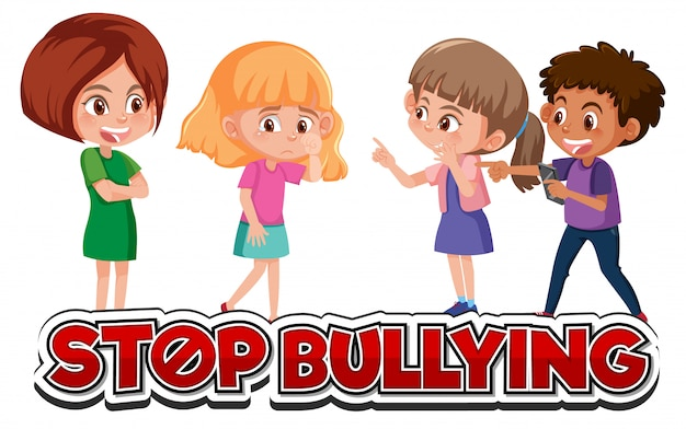 Stop domestic violence font design with kids bullying friend