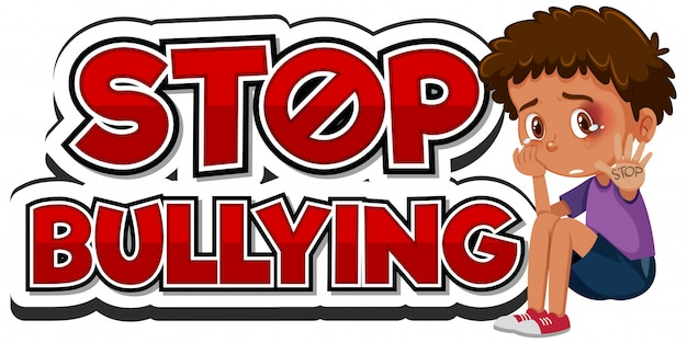Stop domestic violence font design with sad boy