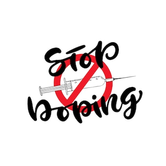 Stop doping icon with syringe. anti drug concept