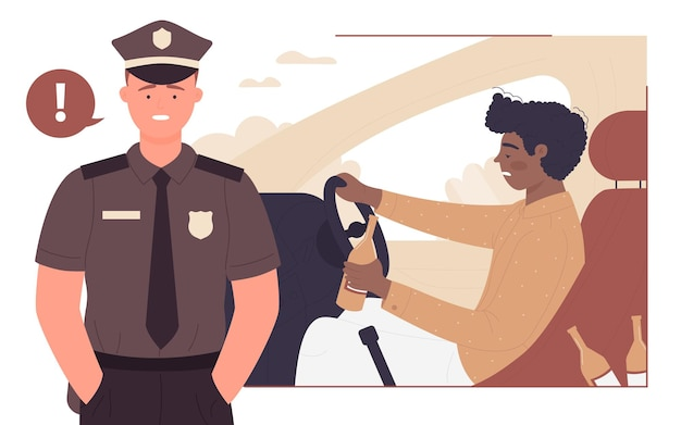 음주를 중지하십시오 음주 운전 젊은 음주 운전 경찰관 위험 경고