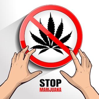 麻薬のイラストを停止します