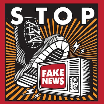 Stop fake news in propaganda style poster