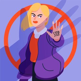 Stop gender violence concept illustrated
