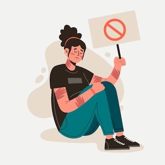Stop gender violence concept Free Vector