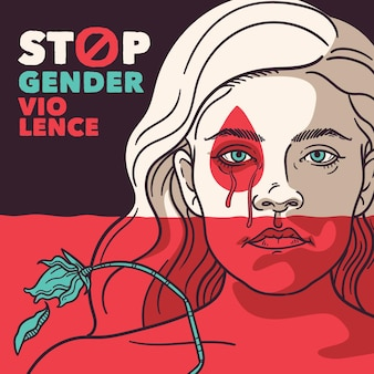 Stop gender violence discrimination concept