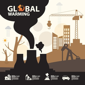 Остановить концептуальный дизайн глобального потепления. шаблон плаката