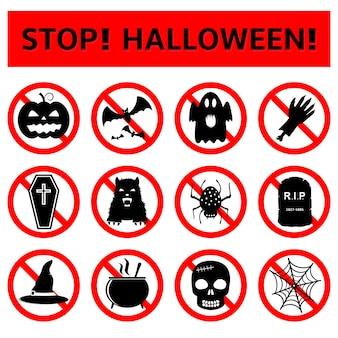 Stop halloween stickers set