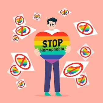 Stop homophobia concept