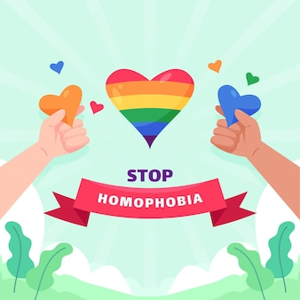 Stop homophobia illustrated concept