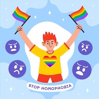 동성애 공포증 일러스트레이션 개념을 중지하십시오