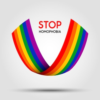 Stop homophobia. lgbt ribbon  on light background.  element in .