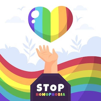 Stop homophobia with rainbow heart