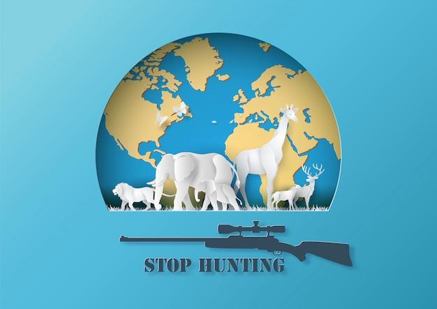 Stop hunting animal with rifle and animal.