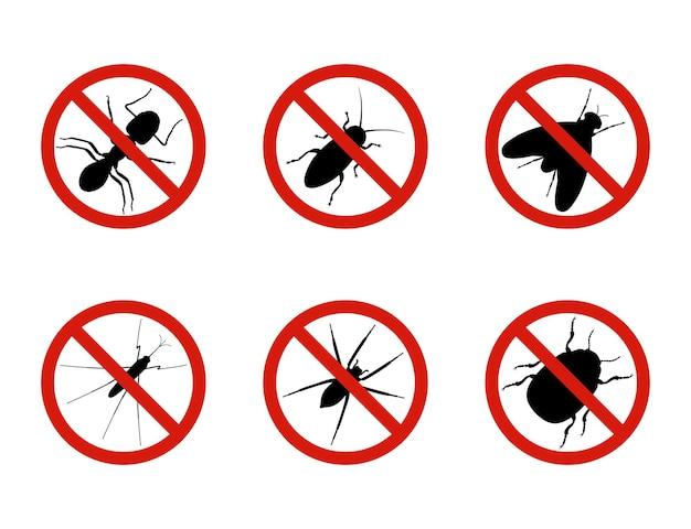Остановить знаки насекомых, векторные иллюстрации