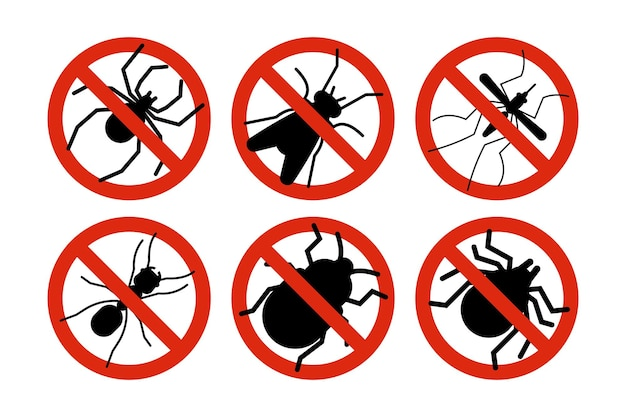 Stop insects. tick, bugs and mosquito silhouettes