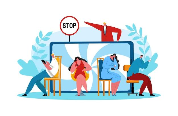インターネット中毒、ベクトルイラストを停止します。人々は現代のモバイル技術を使用しており、男性は男性、女性、キャラクターの常習者をスマートフォンに止めています。ソーシャルネットワークの概念におけるライフスタイル。