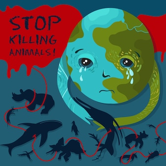 Stop killing animals. vector conceptual zoo protection illustration