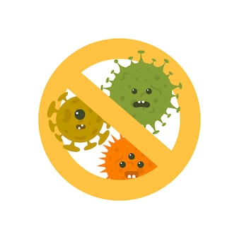 Stop microbes cartoon vector illustration