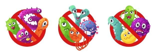 박테리아 바이러스 및 세균 문자 세트로 미생물 빨간색 금지 표지판을 중지