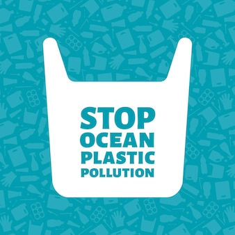 Stop ocean plastic pollution concept vector illustration. single use plastic bag with sign