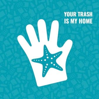 Stop ocean plastic pollution concept vector illustration starfish outline ocean animal inside