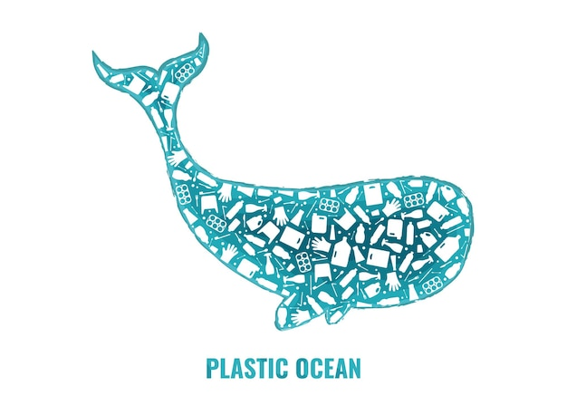 Stop ocean plastic pollution concept vector illustration whale marine mammal outline filled with